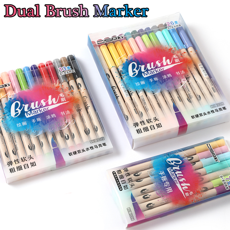6/12/24 Colors Watercolor Brush Pen Set Dual Brush Markers Blending Soft Hard Lettering Drawing Pen Bullet Journal Art Supplies