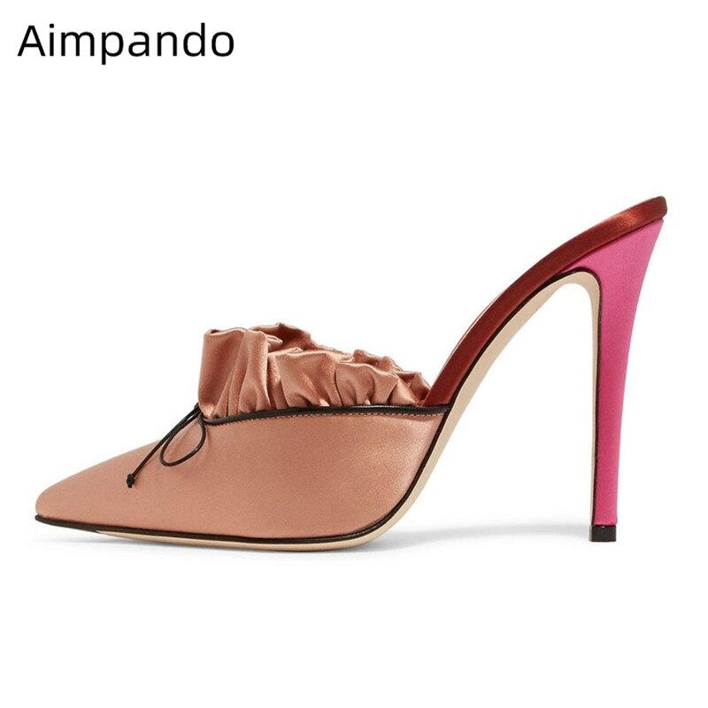 Nuevas zapatillas de satén de lujo de primavera para finos Mujer Zapatos de tacón alto puntiagudos con moño-in Zapatillas from zapatos on AliExpress - 11.11_Double 11_Singles' Day 1
