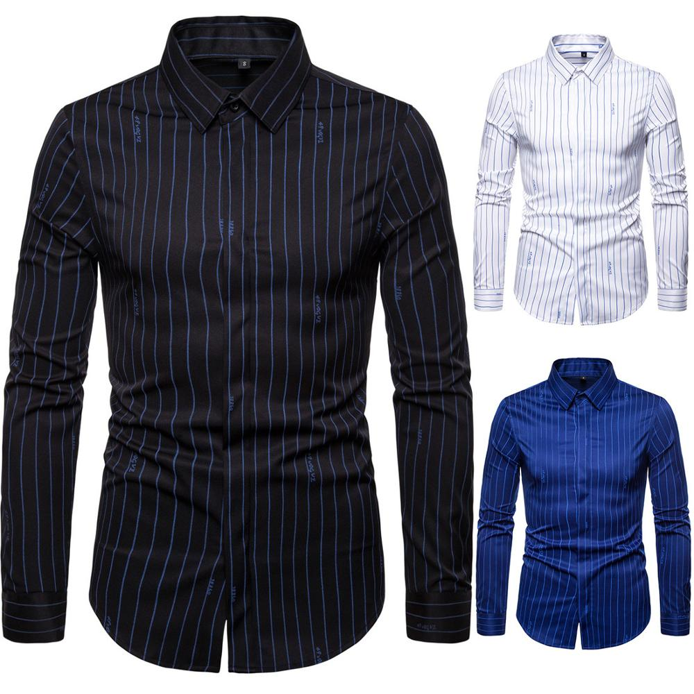 High Grade Men Striped Shirt Classic England Fashion Lapel Casual Blouse Long Sleeve Business Dress Shirts Elastic Camisas