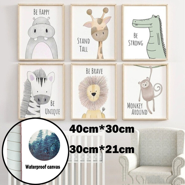 Hippo Lion Crocodile Boho Nursery Wall Art Zebra Monkey Canvas Giraffe Posters Cute Cartoon Animal Kids Girls Bedroom Decor#p8