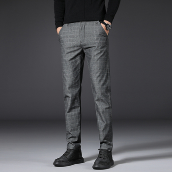 Mens Stretch Plaid Casual Pants Men Fashion Slim Spring summer High Quality Business thin Brand Straight Trousers