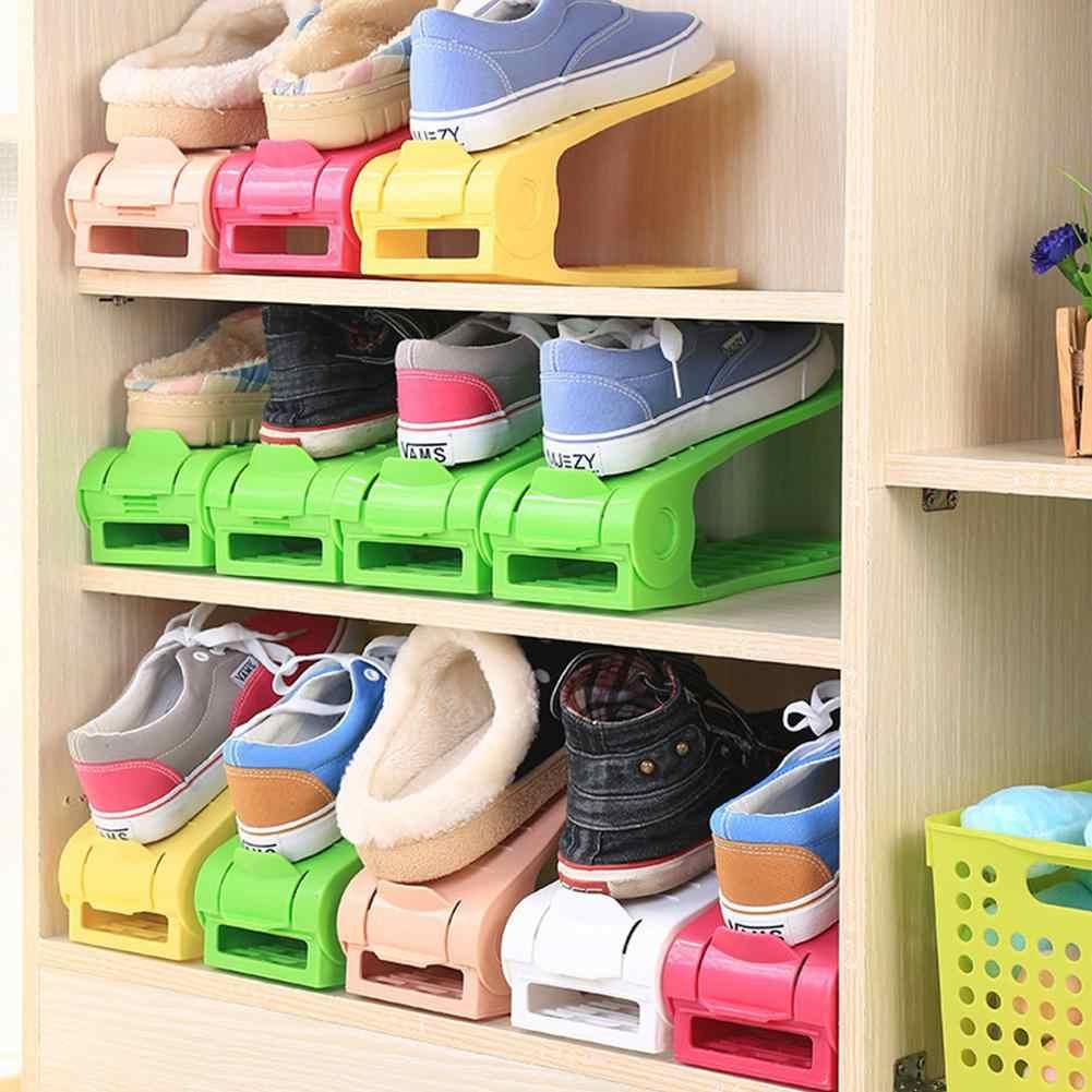 2 stücke Verdickt Durable Einstellbare Schuh Organizer Rack Unterstützung Slot Platzsparende Schrank Schrank Stehen Schuhe Lagerung Rack Schuhkarton