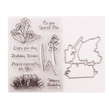 WYSE Happy Birthday Stamp and Dies set Flower Clear with Metal Cutting for DIY Scrapbooking Paper Card Making