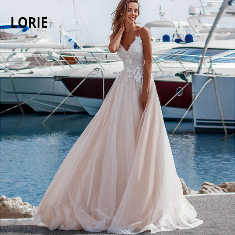 LORIE Princess Wedding Dress 2019 Spaghetti Straps V-neck Backless Beach Boho Bride Gown A-line Lace Vestido De Noiva Customized