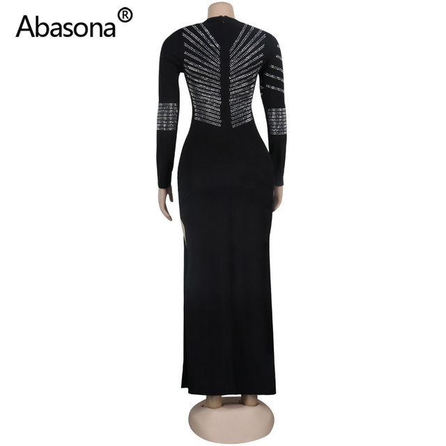 2020 Women Summer Long Bodycon Dress Hot Drilling Crystal Diamonds Rhinestone Sexy Club Party Night Bandage Maxi Dress Plus Size 5