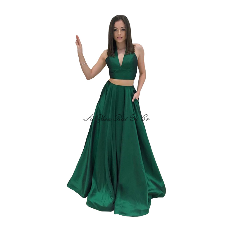 Green V-neck Two Piece Prom Dresses Satin A-line Prom Gown Corset Back Evening Gown Long Party Dress Vestido De Festa