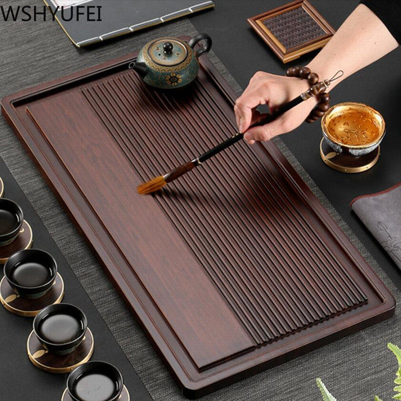 WSHYUFEI Chinese Bamboo Tea Tray Drainage Water Storage Dual-use Tea Tray Living Room Tea Table Household Tea Board Chahai