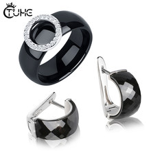 S925 Sterling Silver Circle Ceramic Rings Stud Earrings Jewely Gift Healthy Black White One Row Crystal Earrings Rings Sets(China)