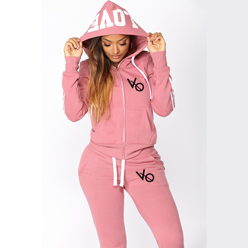 Casual 2 Piece Set Tracksuit Women Zipper Hoodies Pants Suits Sweatshirt  Feminino Striped Hooded Ropa Mujer S-3XL
