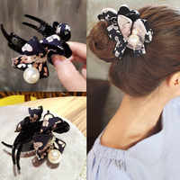 Hot New Korea Fashion Girls Floral Printed Hair Claws Imitiation Pearl Yarn Hair Clip for Women Hair Accessories Crab Hair Clip