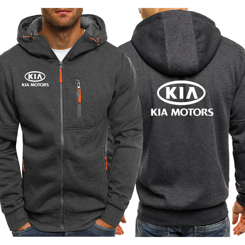 Hoodies Men KIA Car Logo Print Casual Hip Hop Harajuku Long Sleeve Hooded Sweatshirts Mens Zipper Jacket Man Hoody Clothing