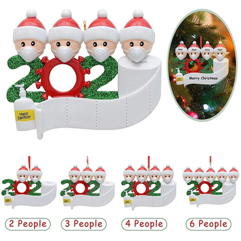 Personalized 2020 Christmas Ornament Quarantine Survivor Family Name Kit, 2-7 Members Customized Decorating Set