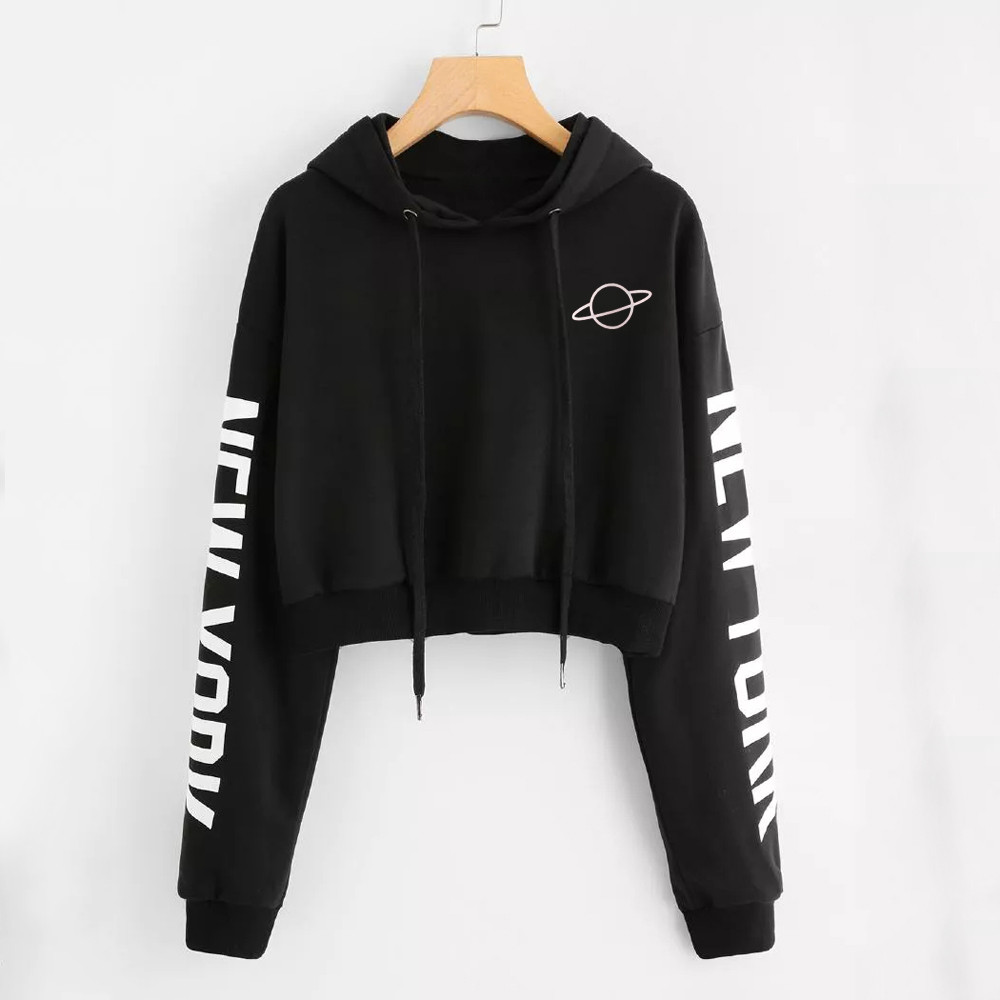 Women sweatshirt short hoodies Autumn warm letter Printed  Long Sleeve Letters Hooded Pullover Tops Blouse Sweatshirt moletom