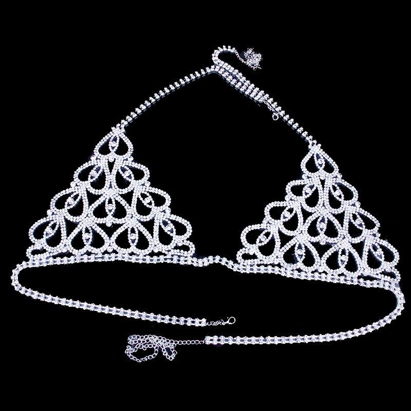 Image 5 - StoneFans Statement Charming Heart Rhinestone Body Jewelry Bra for Women Party Body Bralette Chain Necklace Top Christmas GiftBody Jewelry   -