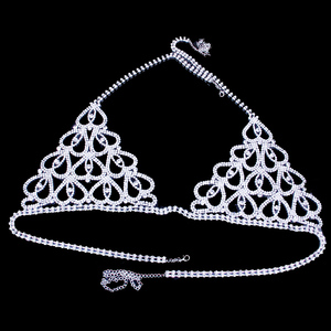 Image 5 - StoneFans بيان الساحرة القلب حجر الراين مجوهرات للجسم البرازيلي للنساء حزب الجسم Bralette سلسلة قلادة أعلى هدية الكريسماس