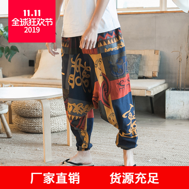 18 Spring Men'S Wear New Style Youth Fashion Chinese-style Cotton Linen Flower Pants Men Casual Loose-Fit Saggy Pants