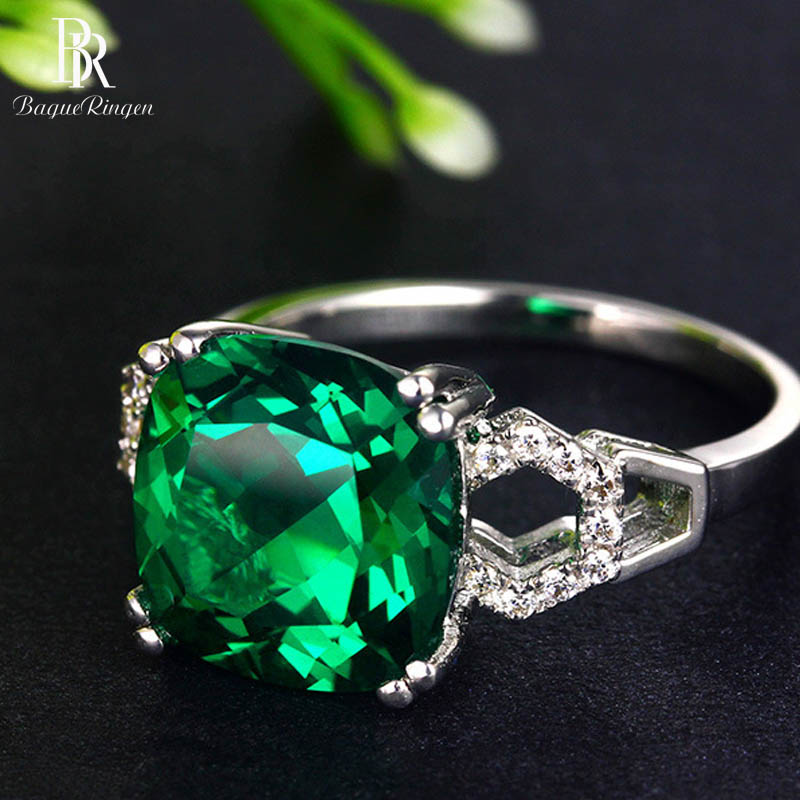 Bague Ringen New 100% 925 Sterling Silver Natural Ruby Sapphire Emerald Gemstone Wedding Engagement Cocktaill Ring Jewelry Gift