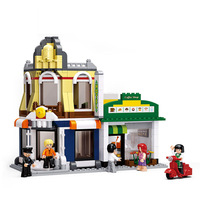 Sluban simulation city cafe hotel house children's boys building blocks bricks toys for kids Birthday gifts