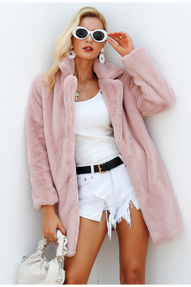 BE HYGGE Elegant Pink Shaggy Women Faux Fur Coat Streetwear Autumn Winter Warm Plush Teddy Coat Female Plus Size Overcoat Party