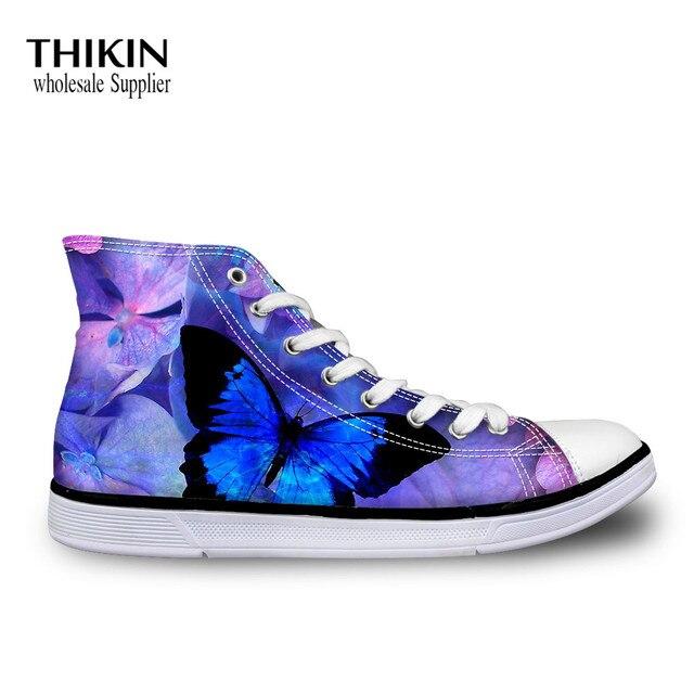 THIKIN Blue Butterfly Flower Pattern
