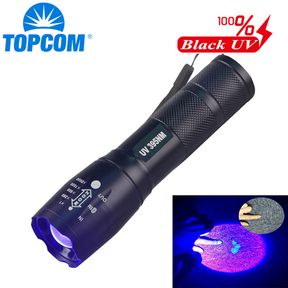 TopCom 395nm UV LED Flashlight Zoomable 3W UV Light Waterproof UV Torch For Amber Urine Detector Use 18650 Rechargeable Battery image