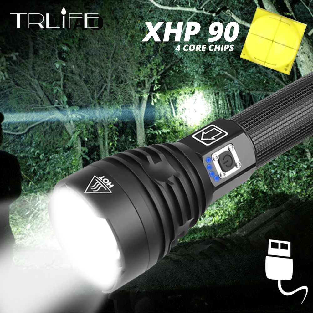 Most Powerful XHP90 LED Flashlight XLamp Zoom Torch XHP70.2 USB Rechargeable Tactical Light 18650 26650 XHP50 Hunting Lamp