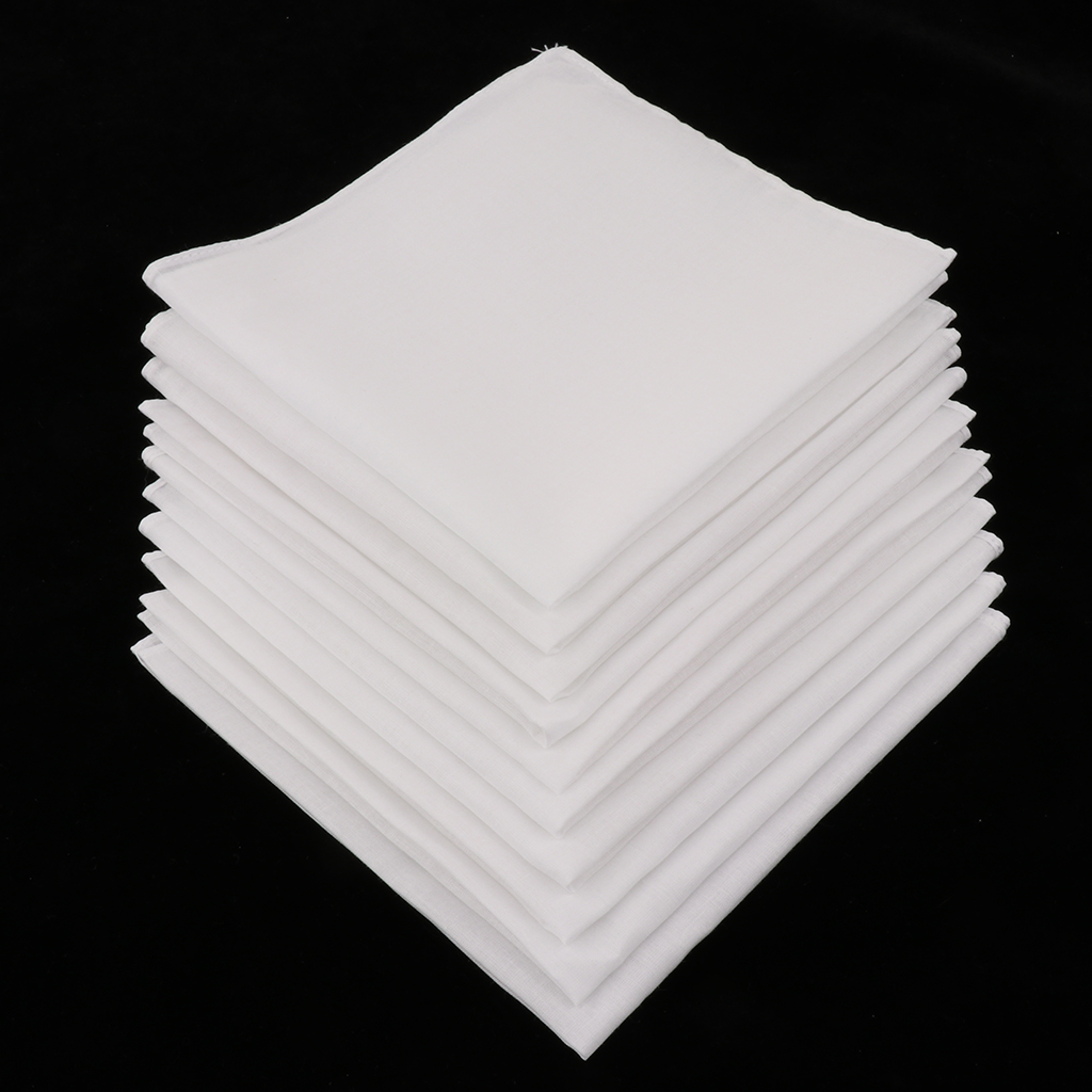 10pcs Mens White Handkerchiefs 100% Cotton Square Super Soft Washable Hanky Chest Towel Pocket Square 28 X 28cm