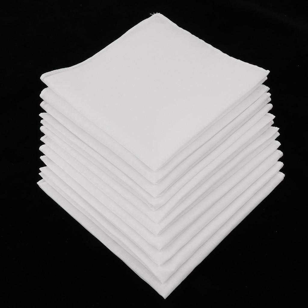 10pcs Mens White Handkerchiefs 100% Cotton Square Super Soft Washable Hanky Chest Towel Pocket Square 28 X 28cm