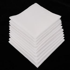 10pcs White Hankie Women Handkerchiefs 100% Cotton Square Super Soft Washable Hanky Chest Towel Pocket Square 28 x 28cm