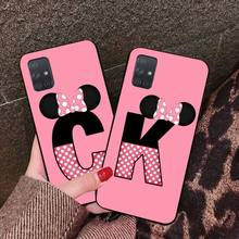 Personalisierte rosa maus kopf bogen 26 buchstaben Telefon Fall Für Samsung A10 A20 A30 A40 A50 A70 A80 A71 A91 a51 A6 A8 2018