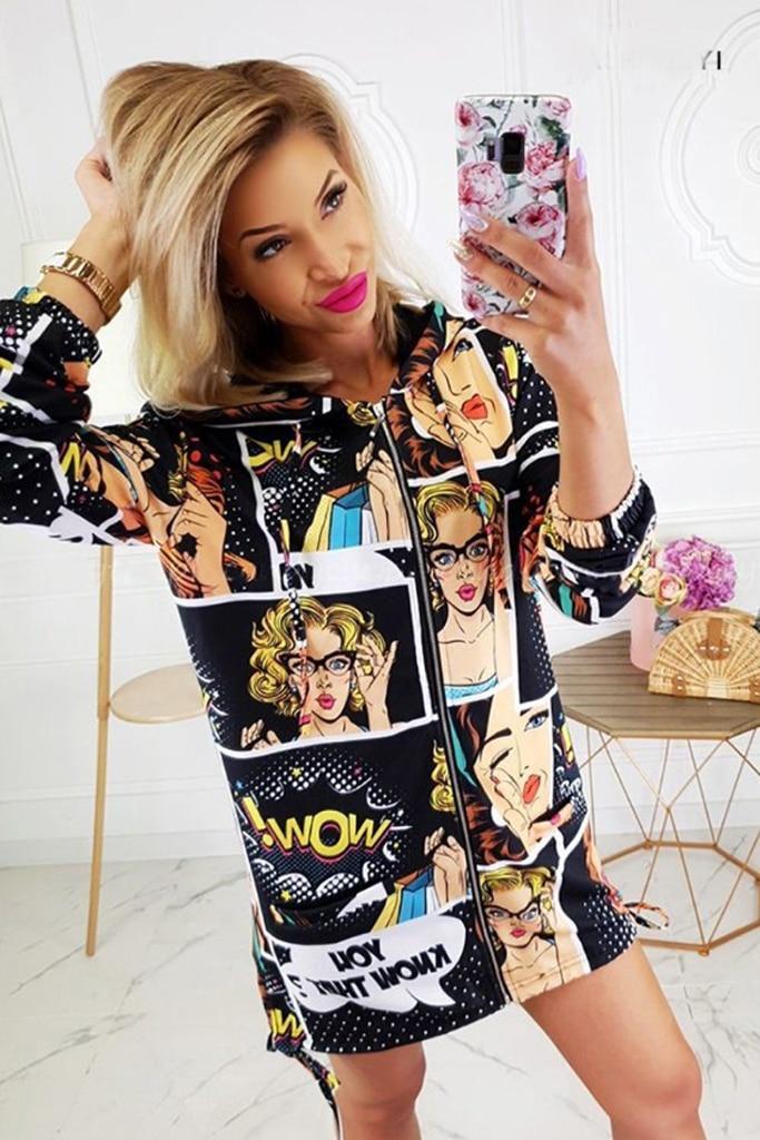 Women Cardigans 2019 Fashion Floral Zipper Bomber Jacket Casual People Pattern Printing Ladies Coat Cool Outwear Hoodie Blakc