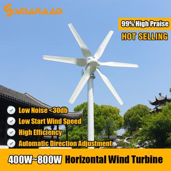 Darmowa energia 3 5 6 ostrza wiatr Generator z turbiną 400w 600w 800w 12v 24v wysoka wydajność dla domu jacht gospodarstwa niska prędkość wiatru Start tanie i dobre opinie CN (pochodzenie) SS-400 600 800 iron Generator energii wiatru Bez Podstawy Montażowej Jiangsu China (Mainland) white aluminum alloy