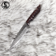 цены Straight Blade Outdoor Hunting Knife  Damascus Steel Fixed Blade knives Tactical Utility knife Rose Wood Handle