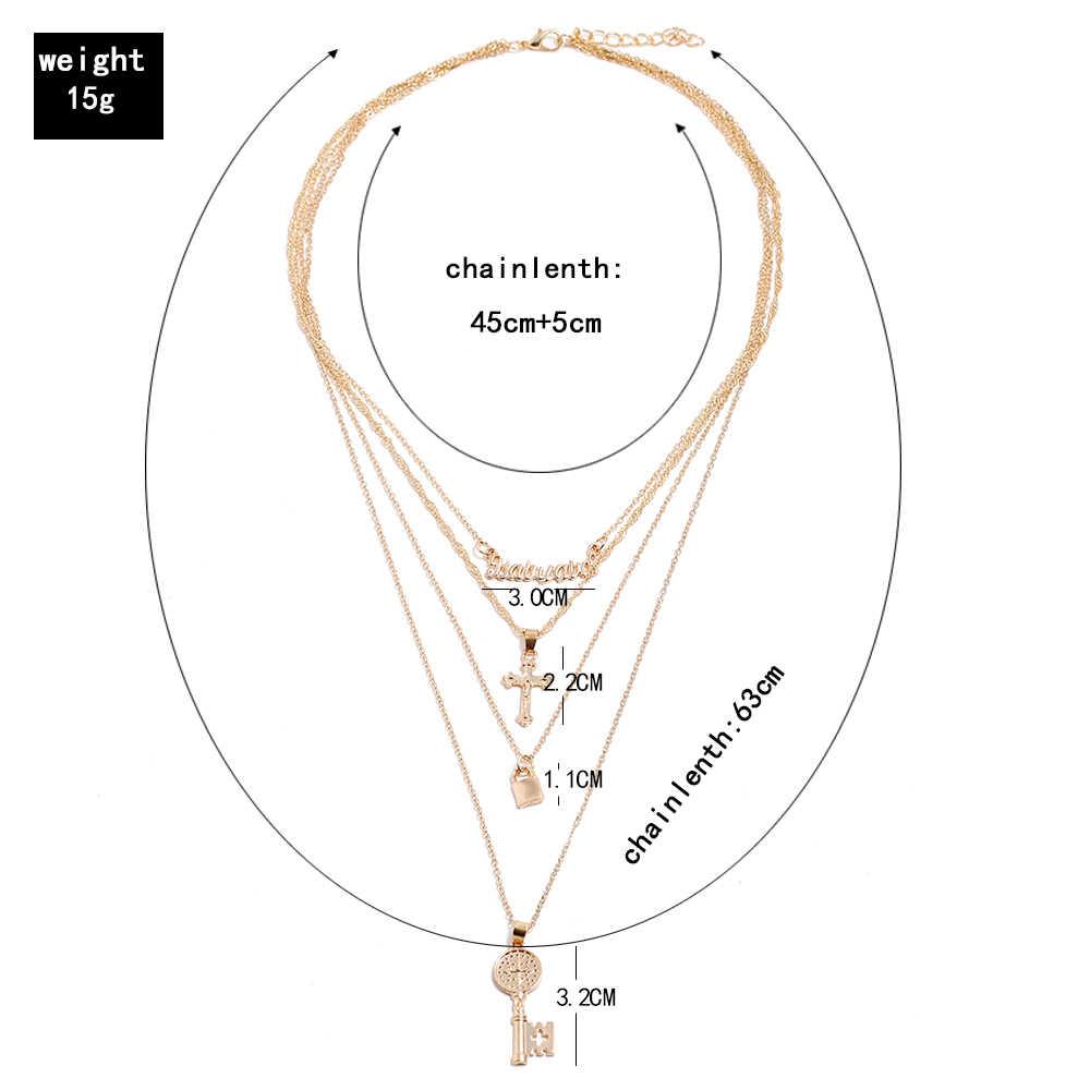 2019 moda klawisz kłódka wisiorek naszyjnik dla kobiet złoty Lock naszyjnik z warstwami na szyi z blokada biżuteria punkowa