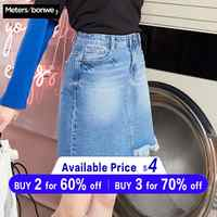 MetersBonwe Denim Skirt High Waist A-line Mini Skirts Women Frayed Irregular skirt 2019 Summer New Arrivals