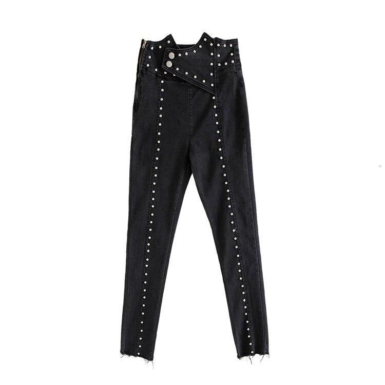 Lourd Rivets Patchwork Denim pantalon pour femmes taille haute irrégulière cheville longueur Jeans femme 2019 Street Fashion