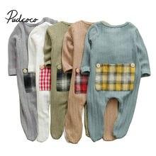 Newborn Baby Clothes Button Plaid Fashion Romper Overalls Ju