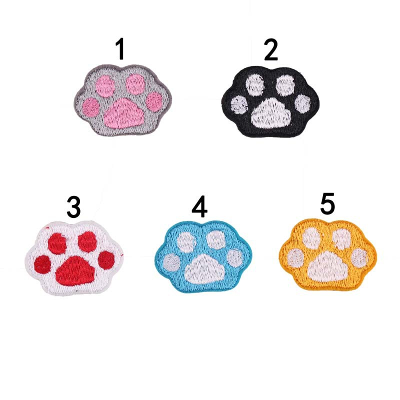 Embroidery Patch Cloth Stickers Computer Embroidery Chapter Cartoon Small Animal Paw Print Meat Palm Clothes Decoration Stickers