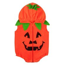 New Infant Kids Baby Girl Boy Halloween Vest Hooded Zipper Jacket Waistcoat Coat Warm Outwear Cute Pumpkin Clothing 0-2T недорого