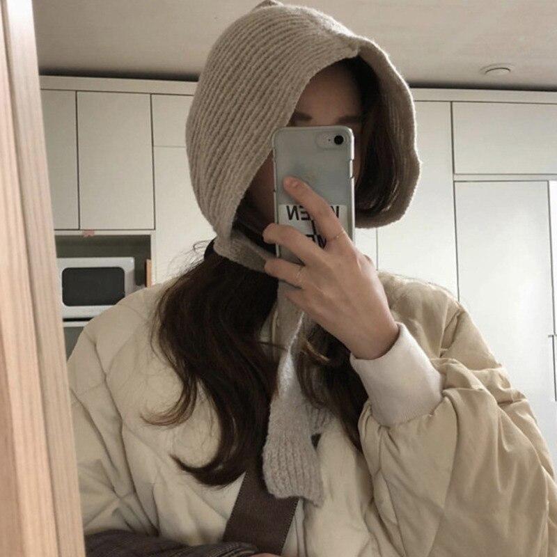 Retro Solid Color Earmuffs Woolen Cap Playful Knit Hat  2019 Korea Fashion New Autumn And Winter Warm Hat