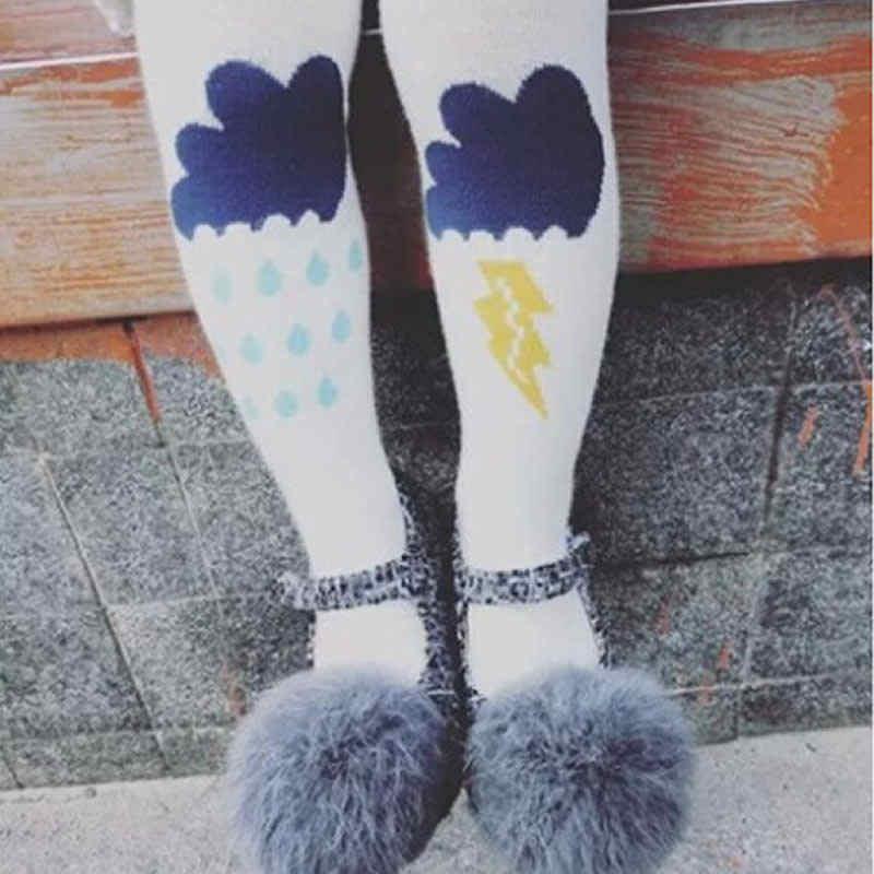 Леггинсы для девочек, теплые, рисунок дождевого облачка, молния, детская одежда с рисунком колготки из чесаного хлопковые леггинсы для детей, для малышей, для девочек, леггинсы