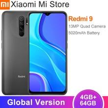 Versão global xiaomi redmi 9 smartphone 4gb ram 64gb rom helio g80 13mp + 8mp câmera 6.53