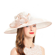 Wedding Hats For Women Elegant Banquet  Fedoras Church Hat Sinamay Fascinator Pink Cocktail Tea Party Linen Cap