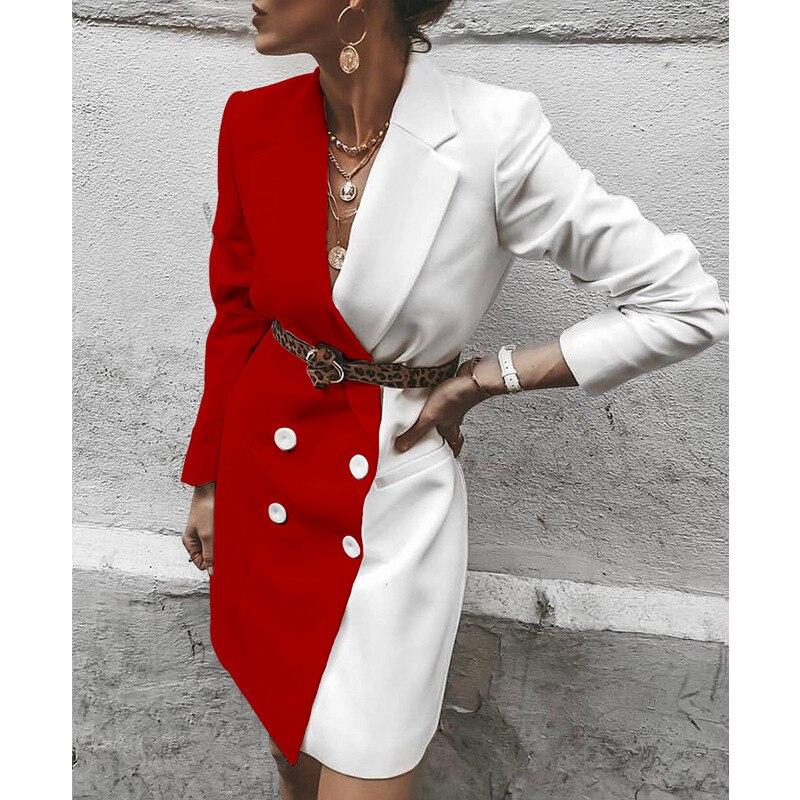 Plus Size OL Office Lady Elegant Contrast Color Blazer Dress Women's Tux Dresses Women Spring Mini Patchwork Suits Coats Dress
