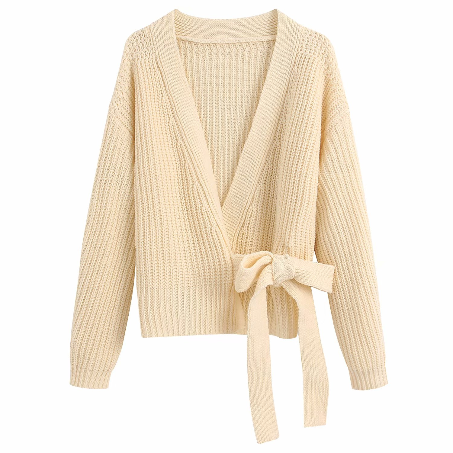 2020 New Women Sweater Gray Beige Pink Solid Kinitted Cardigan Sashes V Neck Sweater Casual Loose Style Female Clothes