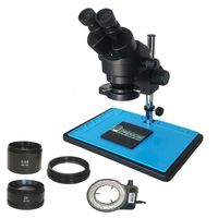 Big table stand +3.5X 90X Binocular stereo microscope+ 56 adjustable led lamp light with 0.5X 2.0X Objective lens phone repair