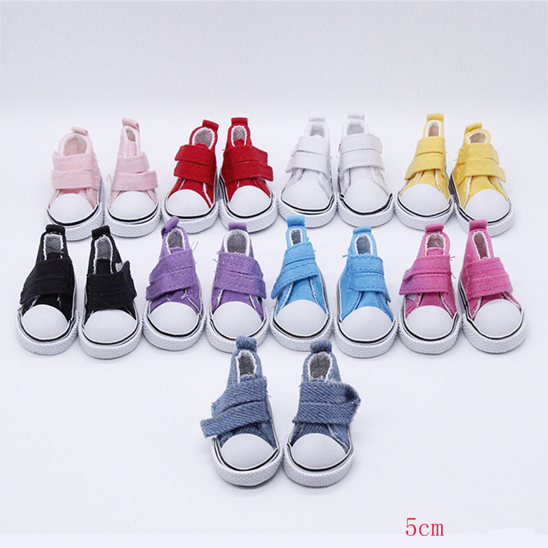1 Pair 5cm <font><b>Doll</b></font> Toys DIY Mini <font><b>Shoes</b></font> for <font><b>1/4</b></font> <font><b>Bjd</b></font> <font><b>Doll</b></font> <font><b>Shoes</b></font> Canvas <font><b>Shoes</b></font> Casual <font><b>Dolls</b></font> Accessories Fashion Gifts for Girls image