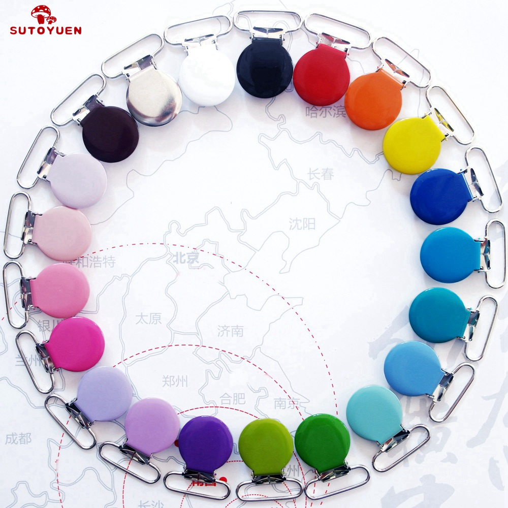 SUTOYUEN Round Shape Dummy Holder 10pc Metal Baby Pacifier Clips For Soother Bib Teething Toys Chain Holder Lead Nickel Free