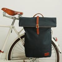 Tourbon Vintage Bicycle Pannier Bag Bike Rear Seat Carrier Pouch Cycling Shoulder Bag Pack Blue Waxed Canvas Water Repellent