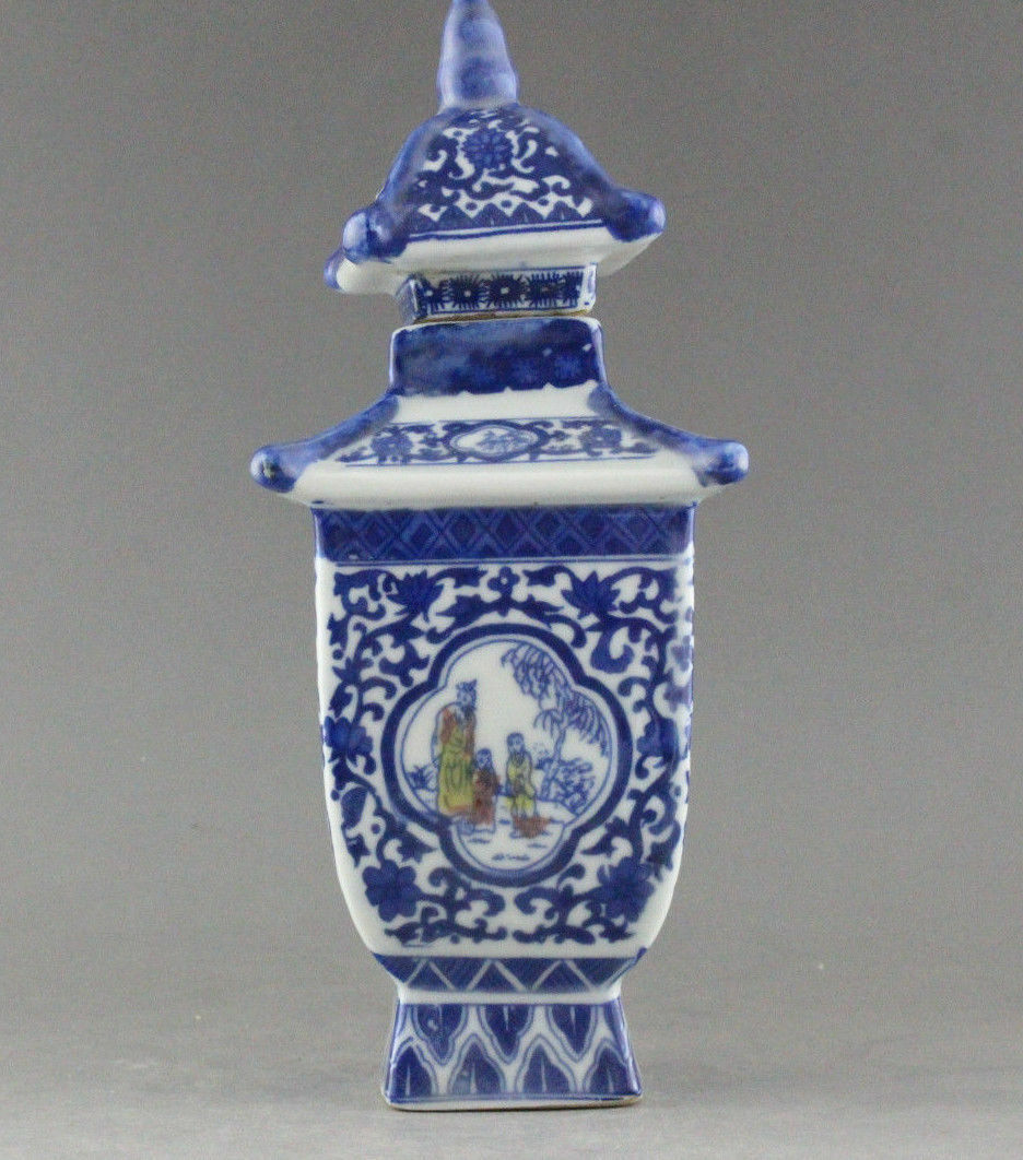 EXQUISITE CHINA JINGDEZHEN BLUE AND WHITE PORCELAIN VASE JAR QIANLONG MARK